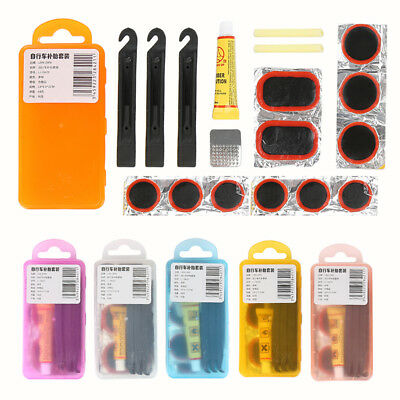 Bike Bicycle Flat Tire Tyre Repair Tool Kit Rubber Patch Glue Lever Fix Sets TR