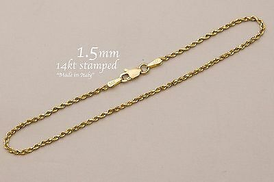 "14k Solid Yellow Gold Rope Chain Necklace 1.5mm Men's Women Sz 16""-36"""