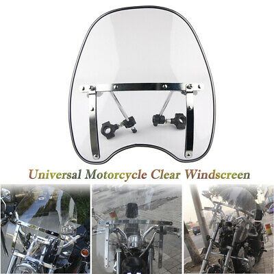 "Fit 7/8'' 1"" Handlebar Motorcycle Clear Cross Bones Windshield Windscreen Kit"