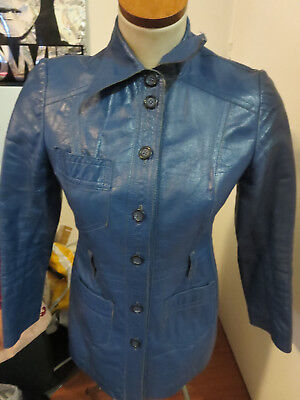 MERIVALE, Amazing Vintage Blue Fitted Leather Jacket/Coat - 70s  - VERY COOL !!!