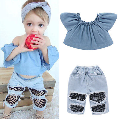 Toddler Kids Baby Girls T-shirt Tops+Holes Jeans Pants Outfits Clothes 2PCS Set