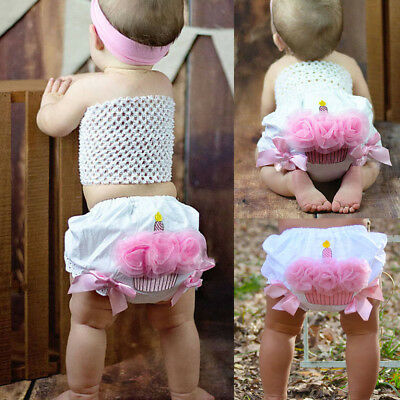 AU Infant Baby Girls Ruffle Cupcake Diaper Cover Bloomer Shorts Bottoms Outfits