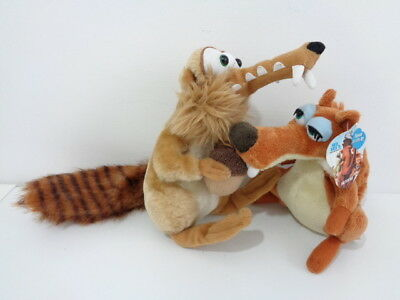 ICE AGE 2 & 3 - SCRAT & GIRLFRIEND SCRATTE SQUIRREL SOFT TOYS - one with tag