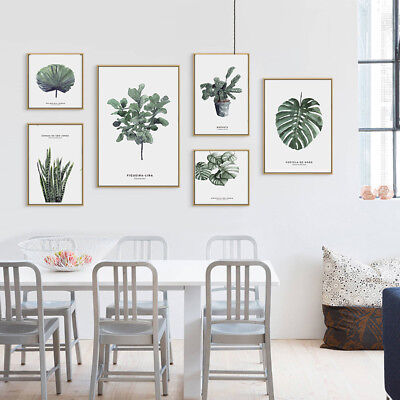 Modern Watercolor Green Plant Canvas Painting Palm Leaf Art Print Wall Poster#IL