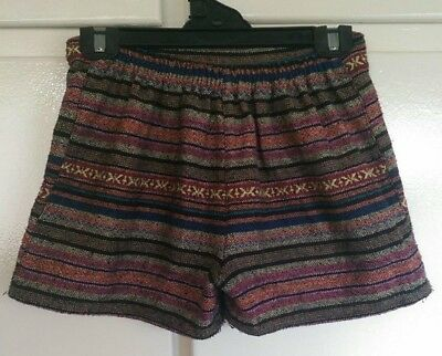 Patterened Embroidered Boho Hippie Shorts Size Large 10/12