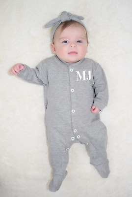 Personalised Initial Baby Sleep suit Babygrow One piece Custom Baby Clothes