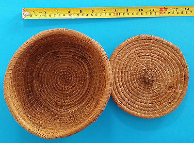 Hand woven West African basket with lid