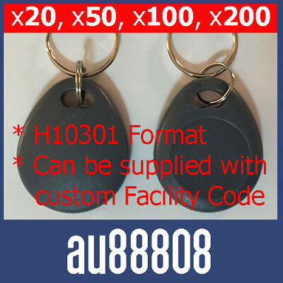 KEY TAG FOBS WORKS WITH HID PROXKEY 1346 1386 26 BIT H10301 125KHz PROX KEY FOB