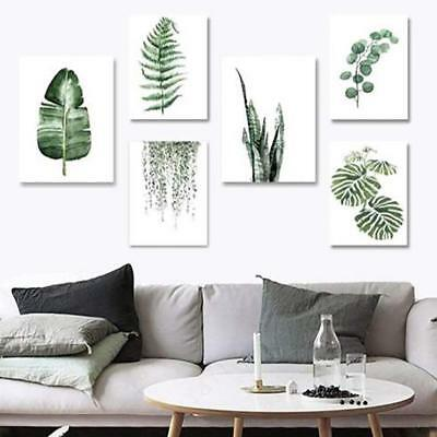 Green Plants Cactus Leaves Watercolour Art Canvas Prints Wall Home Decor Poster