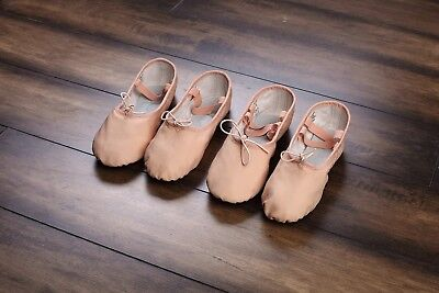 DTTROL Leather Ballet shoes full sole quality and free Ballet Ribbon