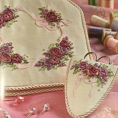 Needlework needlebook and scissor case: Wine and Roses design and instructions