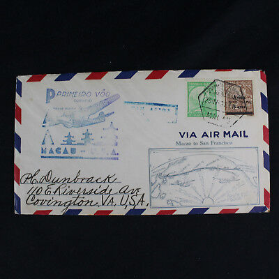 Macao Macau China 1937 1st Flight Cover to San Francisco Airmail Buy US Bonds