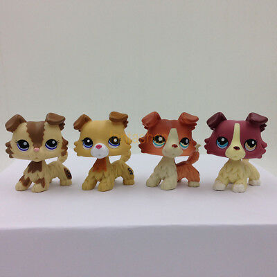 4X Littlest Pet Shop LPS Toys  #2210#2452#1542#1262 Collie Puggy Dog Rare Toys