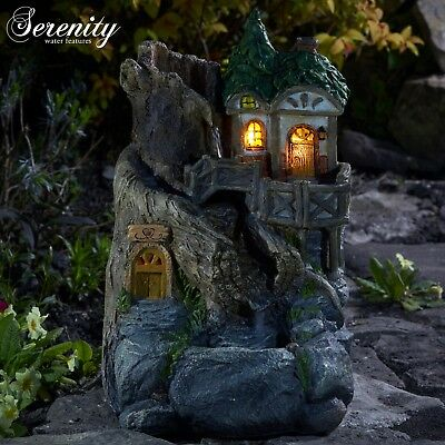 Serenity Garden Water Feature LED Light Up Fairy Tree House Indoor Outdoor NEW