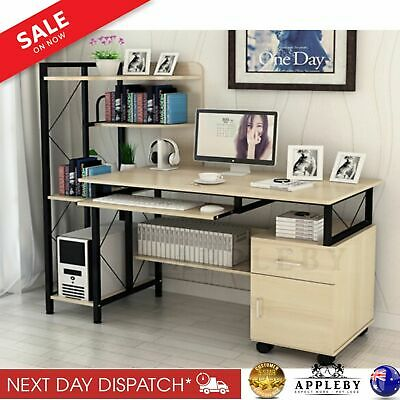 Office Computer Desk Table Home Workstation Study Pc Stand White Multiple Shelf