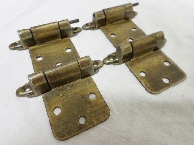 Set Of 4 Vintage Brass Spring Loaded Cabinet Door Hinges 505