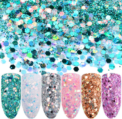 New 6 Nail Art Glitter Sequins Powder Dust for UV Gel Acrylic Decoration Tips