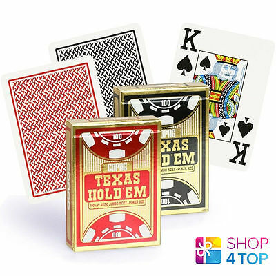 Copag Texas Hold'em 100% Plastic Jumbo Index Poker Cards Casino Deck Black Red