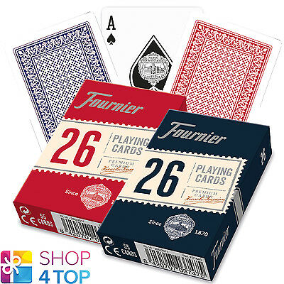 Fournier 26 Plastic Coated Bridge Playing Cards Deck Red Blue Standard New