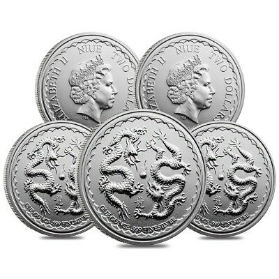 Lot of 5 - 2018 1 oz Niue Silver $2 Double Dragon BU