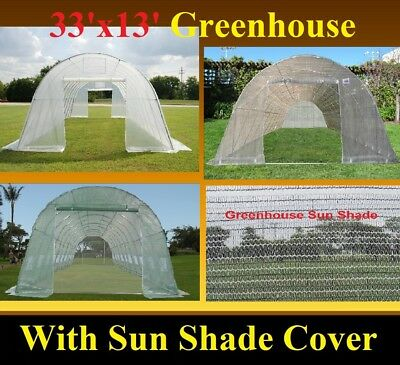 33'x13' Heavy Duty Walk-In Greenhouse  with Shade Net - 2 Buying Options