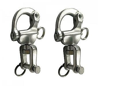 "Set of 2: 2-3/4"" Jaw Swivel Snap Tack Shackle for Sailboat - Stainless Steel (BC"