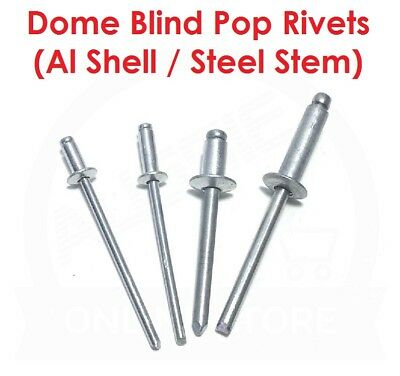 Dome Blind Pop Rivets (Aluminium Shell / Steel Stem) 3.2mm 4.8mm 6.4mm Diameter
