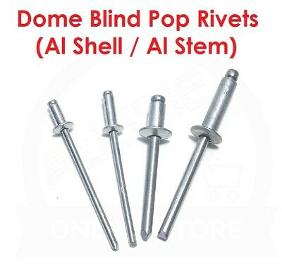 Dome Blind Pop Rivets (Aluminium Shell / Aluminium Stem) 3.2mm 4.8mm Diameter