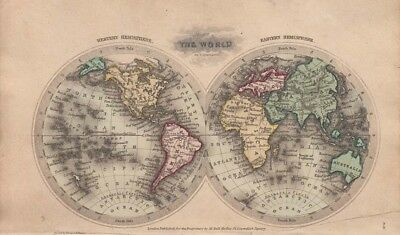 1834 Nice Early Starling Double Hemisphere Map of the World