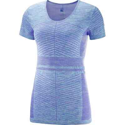 Salomon 2018 Women's Elevate Move'On Short Sleeve Tee - Purple Opulence/Blue