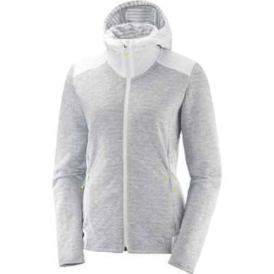 Salomon 2018 Women's Elevate Full-Zip Midlayer Running Top - White - L40068200