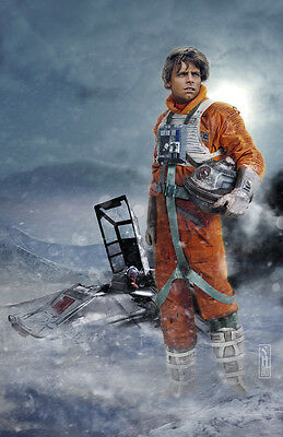 Star Wars Luke Skywalker on Hoth Original Art Print by Scott Harben