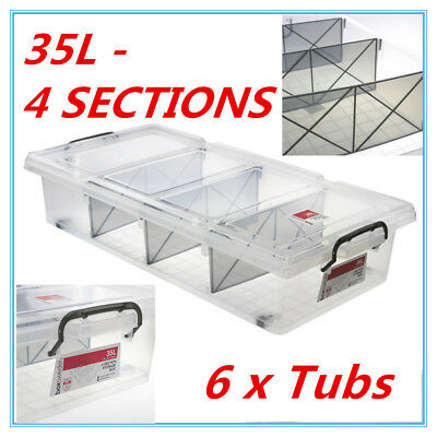 6 x Clear Plastic Storage Box 35L with Removable Dividers Containers Bin Tubs ME