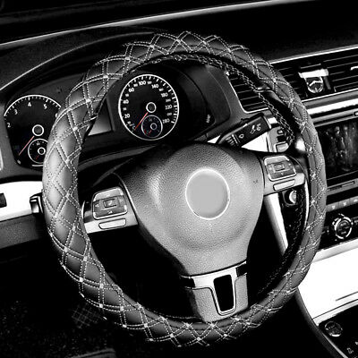 Universal Fit 36cm/14'' & 38cm/15'' Car Auto Steering Wheel Cover Faux Leather