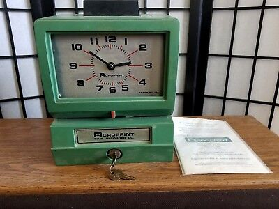 Nice Acroprint Time Recorder Model: 125NR4 TIME CLOCK with Key