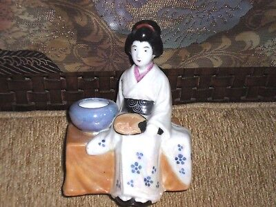 Antique Japanese Satsuma Kutani Woman/Geisha Sitting w/Fan & Bowl Figurine