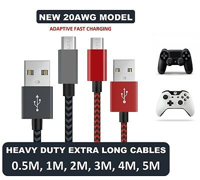 1M 2M 3M 4M 5M Long A Male to MICRO B USB 2.0 Charger Cable Lead XBOX ONE PS4