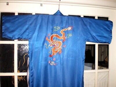 Antique Chinese Blue Silk Robe/Kimono w/Embroidered Gold Dragons & Pearls #1