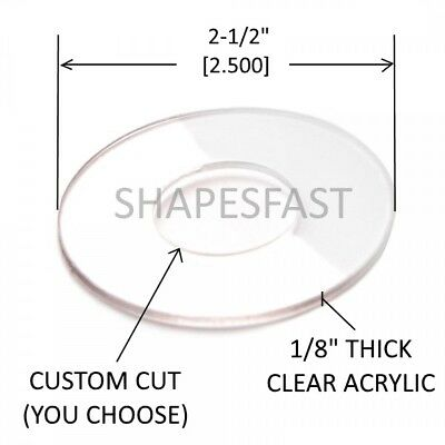 """(Qty1) 2-1/2"""" Inch Clear Washer  - Center Hole - Acrylic Circle - Disc Plastic"""
