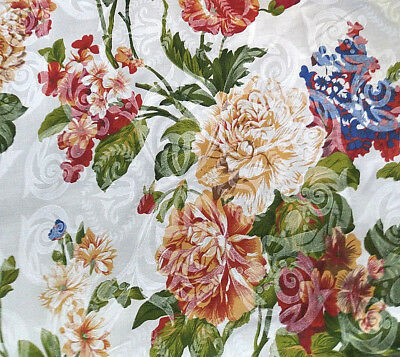 "VICTORIAN CHINTZ PRINT FLORAL DAMASK IVORY POLY COTTON FABRIC 60"" By the Yard"