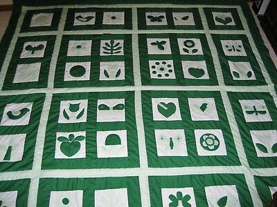 Vintage Handquilted and Hand appliqued Green & White Quilt 92X96