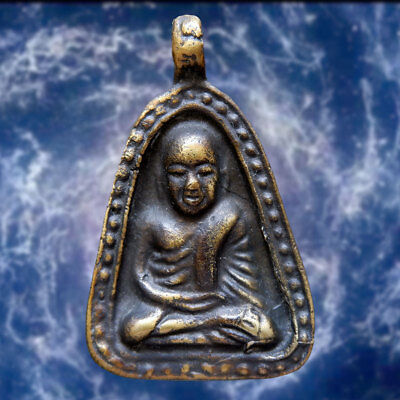 Thai Amulet Pendant Buddha Phra LP. Ngern Wealth Lucky Talismans Life Protect