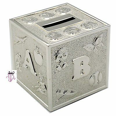 Girl, Boy Quality Silver Cube Money Box Bank Baby Shower Gift Idea Christening