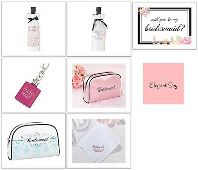 WILL YOU BE MY BRIDESMAID CARDS GIFTS BAGS MINI FLASK HANKY HANKIE Wedding Bride