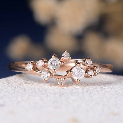 Women's 14K Gold Filled Cubic Zirconia Stackable Eternity Cluster Promise Rings