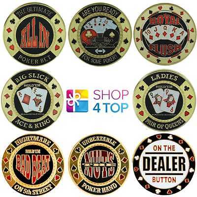 Poker Cards Guard Cover Protector Metal Chip Coin Paper Weight Round Original