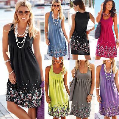 Womens Dress Boho Summer Beach Holiday UK Plus Size Ladies Sundress Midi Top
