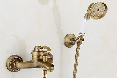 Antique Brass bathroom bathtub mixer tap faucet with telephone hand shower Kdd04