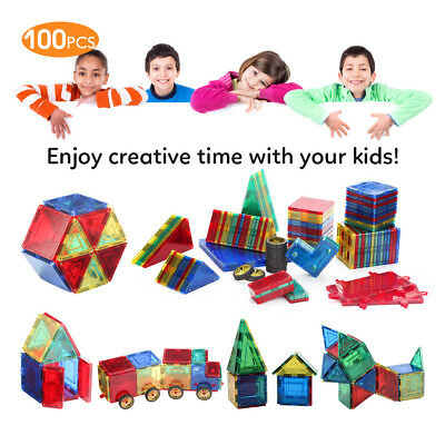 100PCS Magnetic Blocks Building Toys For Magnet Tiles Kits Gifts Educational Toy