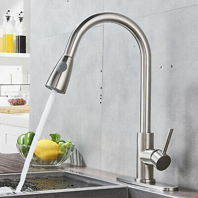 Comllen Commercial Brushed Nickel Pull out Kitchen Faucet Single Handle Tap